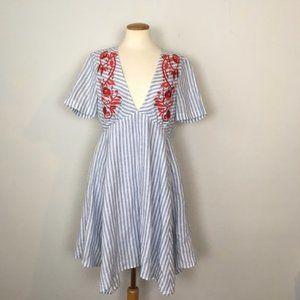 Tahari Arthur Levine Embroidered Stripe Dress